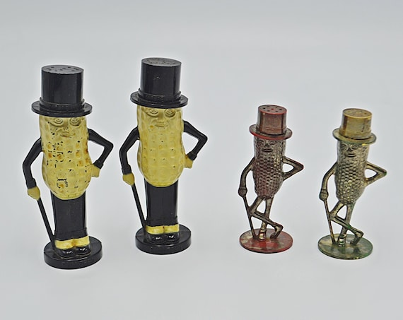 Mr Peanut Salt And Pepper Shakers, Two Sets Of Planters Shakers