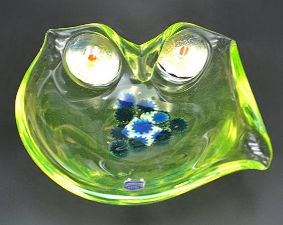 Cenedese Murano Glass Owl Bowl, Uranium/Vaseline Glass