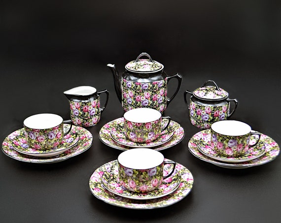 German Chintz Porcelain Tea Set