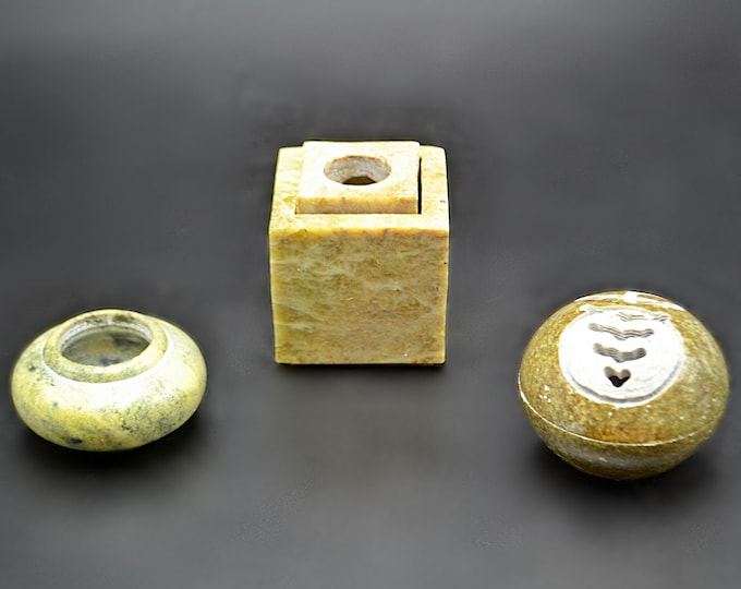 Vintage Soapstone Collection, Incense Burner, Candle Holder, Miniature Pot