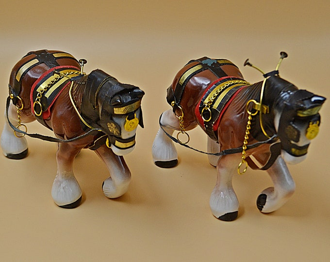 Two Ceramic Draft Horse Figurines, Clydesdale Horse