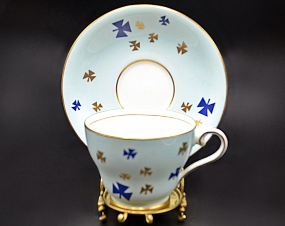 Aynsley Teacup And Saucer, Pastel Blue With Geometric Shamrocks