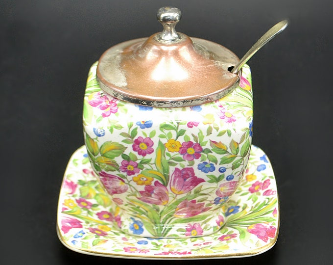 Royal Winton Grimwades Jam Jar With Underplate, Chintz Springtime