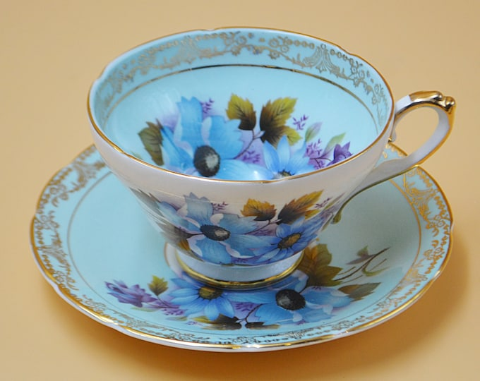 Royal Sutherland Teacup And Saucer, Blue Floral Cup And Saucer