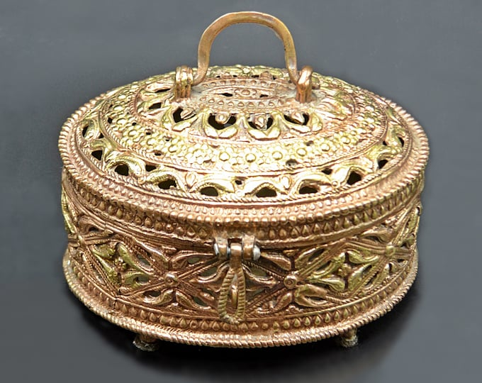 Brass Box, Antique Vintage Oval Box With Handle