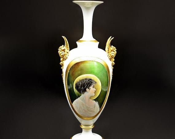 Antique CAC Lenox American Belleek Portrait Vase, Griffin Handled Vase