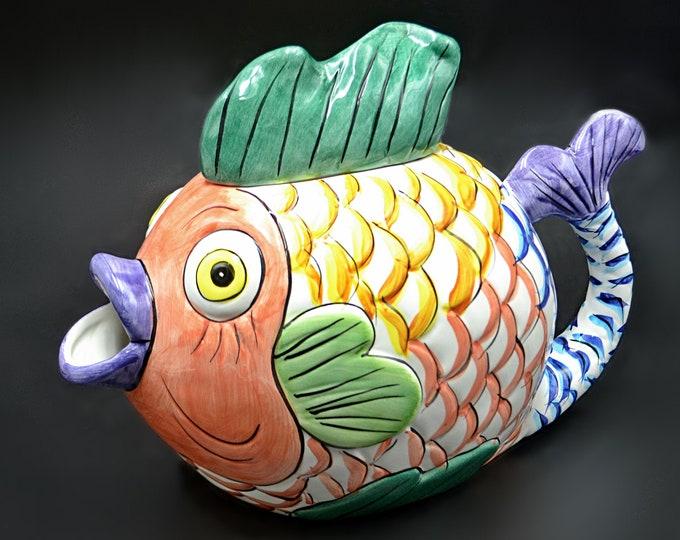 Tabletops Unlimited Pescada Fish Teapot, Large Jug, Discontinued