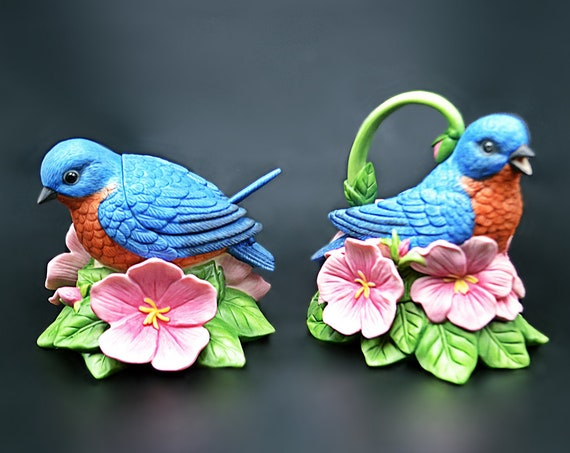 Lenox Blue Bird Creamer And Sugar Bowl, Summer Greetings By Catherine McClung