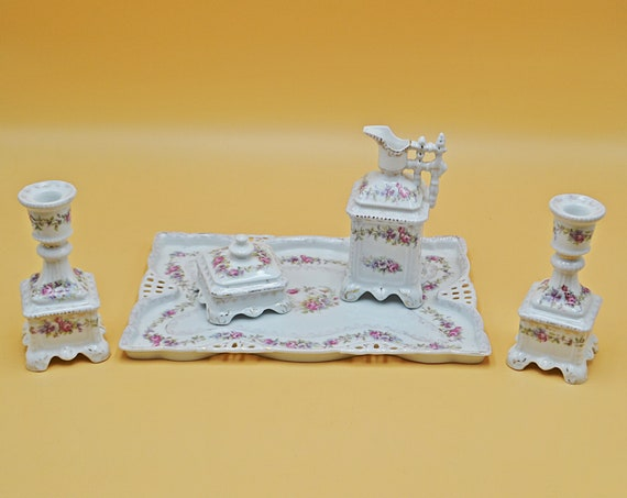 Antique Victoria (Schmidt & Co) Carlsbad Austria Vanity Set, 5 Piece Porcelain Dresser Set