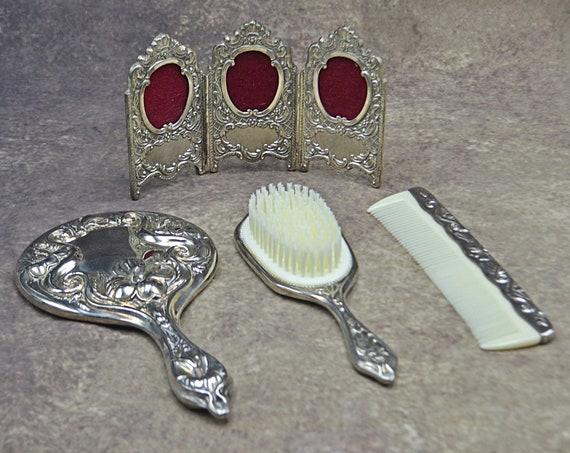 Silver Tone Dresser Set, Art Nouveau Vanity Set, Handheld Mirror, Brush, Comb, Silver Plate Folding Photo Frame