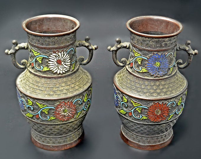 Antique Japanese Bronze Champlevé Vases