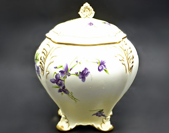 Antique Royal Crown Derby Tea Jar, 1800's Porcelain Canister, Tea Caddy