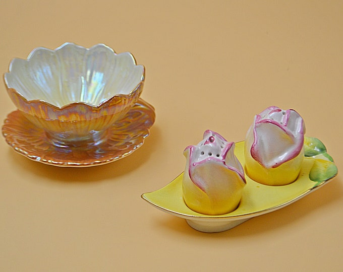 Royal Winton Grimwades Rosebud Salt And Pepper Shakers, Lotus Bowl