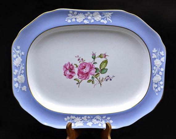 Spode Maritime Rose Blue Platter, Serving Plate