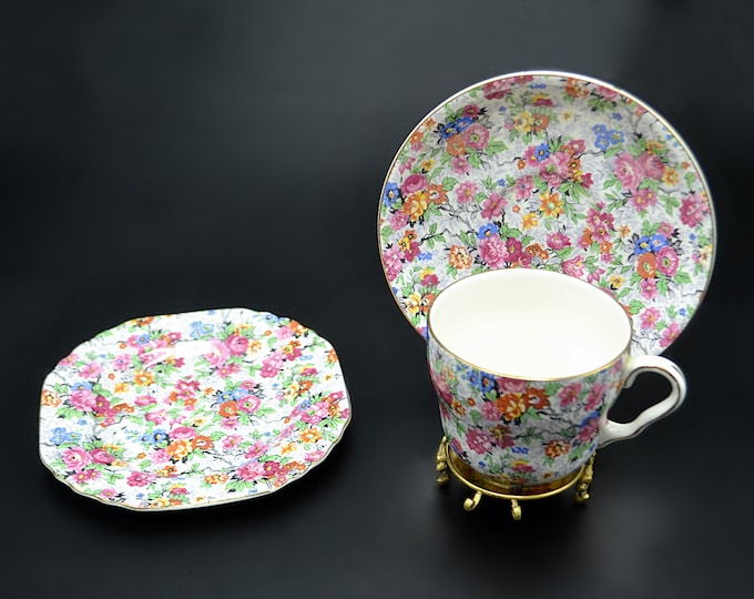 Lord Nelson Marina Cup And Saucer Trio, Elijah Cotton Ltd Chintz 3 Piece Tea Set