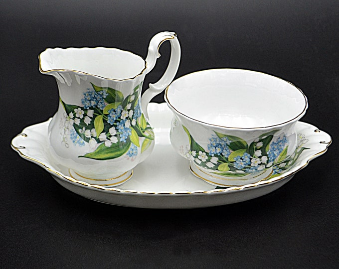 Royal Albert Creamer Sugar Bowl And Underplate, Lily Of The Valley With Forget-Me-Not Pattern