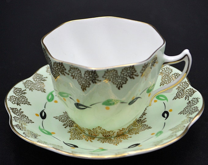 Rosina Bone China Cup And Saucer, Green And Gold