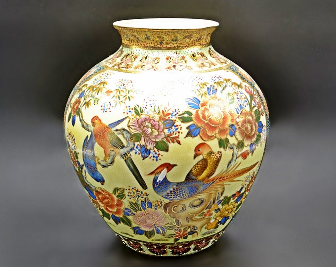 Chinese Satsuma Style Vase, Crackle Glaze With Bird And Floral Design