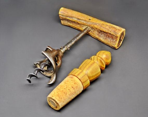 Antique Bone Handle Corkscrew With Cap Lifter, Vintage Turned Wood Bottle Stopper