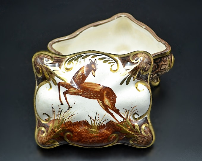 Hubert Bequet Trinket Box, Ceramic Deer Box