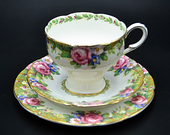 Paragon Tapestry Rose Teacup And Saucer, Double Royal Warrant, 3 Piece Setting