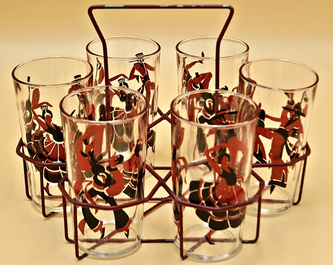 Set Of Six Flamenco Dancer Glasses, Spanish Dancer Glasses, With Carrier