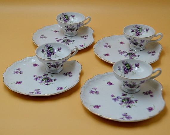 4 Cups And Saucers, Tennis Set, Purple Violet