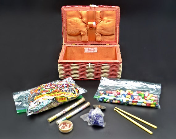 Vintage Dritz Sewing Basket With Bead Supplies