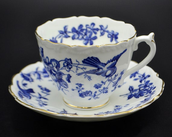 Coalport Blue And White Bird Teacup And Saucer, Pattern 9283