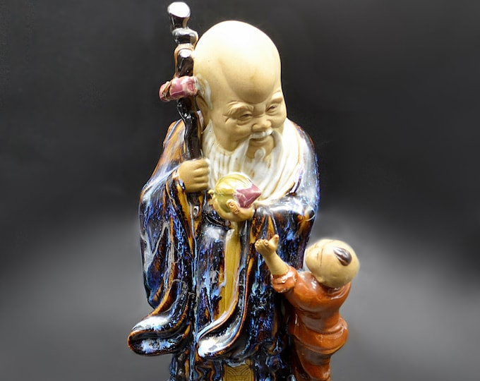 Shou Lao Figurine, God Of Longevity Statue, Asian Decor