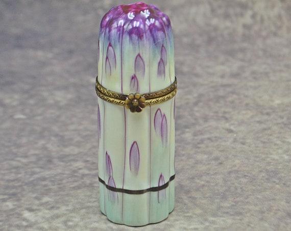 Limoges Parry Vieille Peint Main Lipstick Holder, Asparagus Porcelain Box