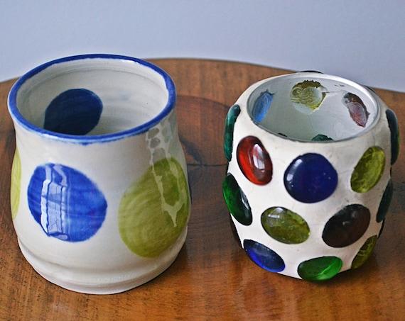 Pottery Cabinet Vase, Blown Glass Cabochon Jar
