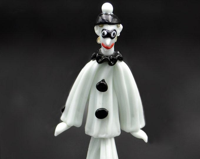 Art Glass Mime / Clown, Black And White Art Glass Figurine