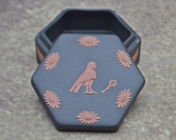 Wedgwood Basalt Jasperware Egyptian Revival Trinket Box, Ba Bird, Winged Sun Mythology