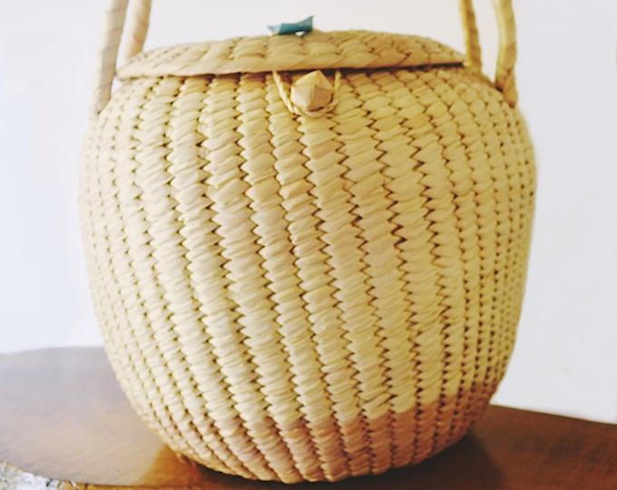 Vintage Xhauga Weaver Hand Made Basket, African Woven Basket, Storage Basket