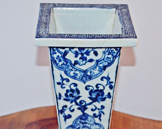 Asian Rectangular Vase, Blue And White Vase, Chinese Collectible
