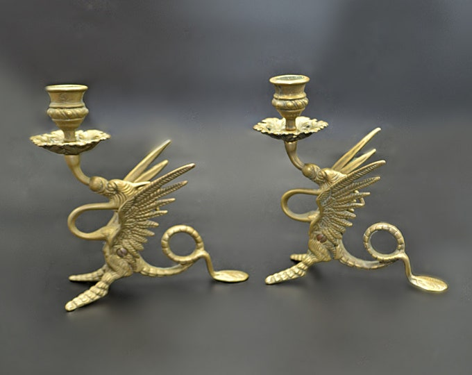 Pair Of Brass Dragon Candle Holders, Vintage Antique Brass Candlesticks