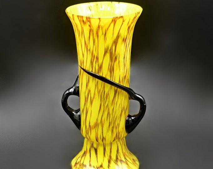 Czech Spatter Glass Vase, Attributed To Rückl Glassworks