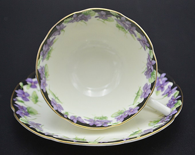 Royal Doulton Purple Violets Teacup And Saucer, 1940's Floral China