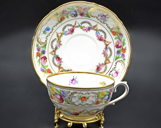 Schumann Bavaria Dresden Swags Teacup And Saucer, Floral Garland Cup And Saucer