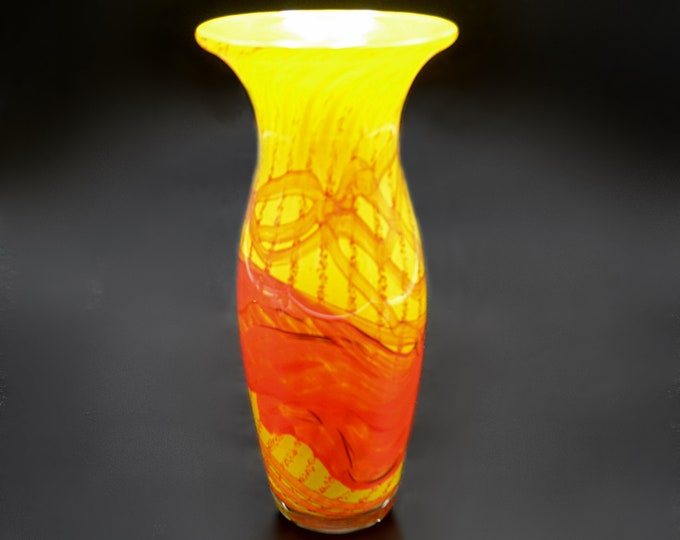 Gozo Glass Vase, Sunshine Pattern, Yellow And Orange