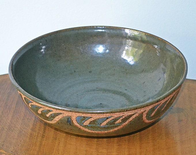 Vintage Pottery Serving Bowl, Khaki Green Fruit Bowl, Signed Art Pottery