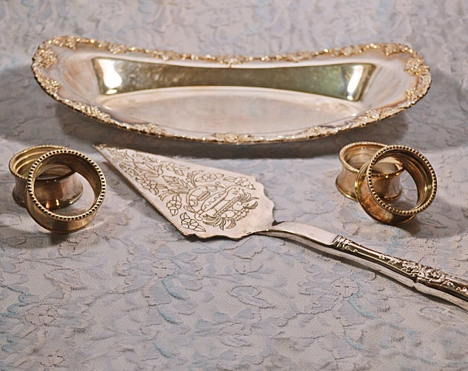 Silverplated Serving Set, Lipman Bros Pastry Plate, Falstaff Cake Lifter, Napkin Rings