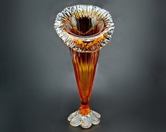 Amber to Clear Glass Jack In The Pulpit Vase