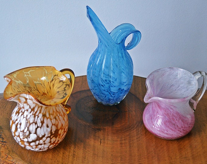 Blown Glass Creamers, Blue Swirl, Pink Swirl, Amber Glass With White Spatter, Clearance