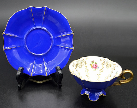 Al-Ka Kunst Kronach Bavaria Germany Cup And Saucer, Royal Blue And Flowers Teacup