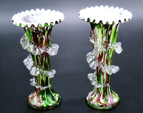 Bohemian Czech Spatter Glass Vases, End Of Day Glass, Red Green Blown Vase