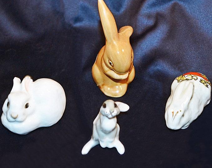 Collectible Bunny Figurines, Lomonosov, Mead McLech, Queens China, Rabbit Figurines