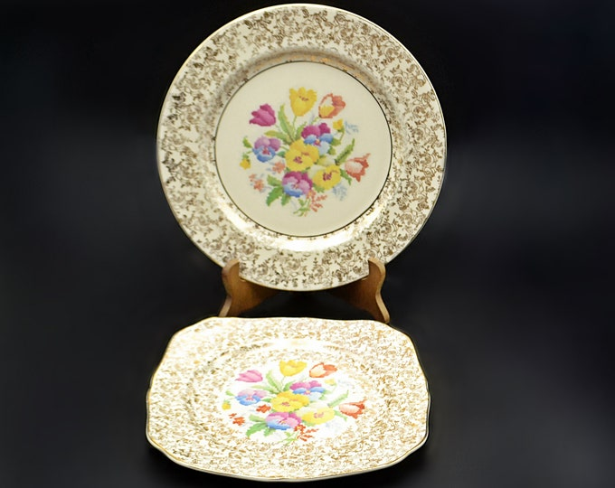 H And K Tunstall Plates, Old English Sampler, Gold Chintz And Floral