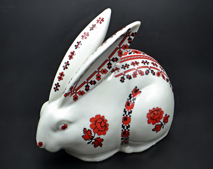 Ceramic Bunny, Porcelain Floral Rabbit